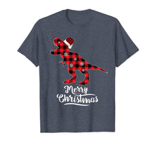 Load image into Gallery viewer, Red Plaid Dinosaur Merry Christmas Buffalo Family T-Shirt