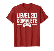 Load image into Gallery viewer, Level 30 Complete - Gamer 30th Birthday Gift T-Shirt