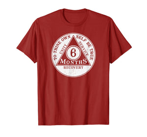 6 months sobriety coin recovery coin gift t-shirt