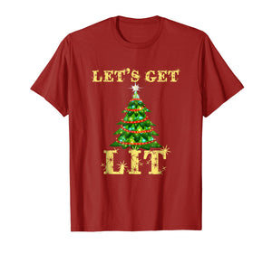 Let's Get Lit Funny Christmas Drinking T-Shirt