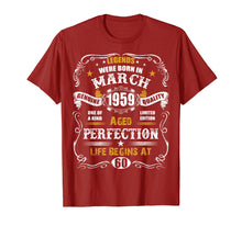Load image into Gallery viewer, March 1959 60th Birthday T-Shirt Vintage 60 Years Old Gift