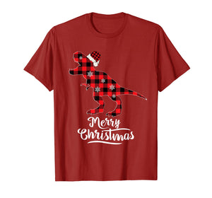 Red Plaid Dinosaur Merry Christmas Buffalo Family T-Shirt