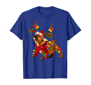 Santa bulldog gorgeous reindeer Light Christmas T-Shirt