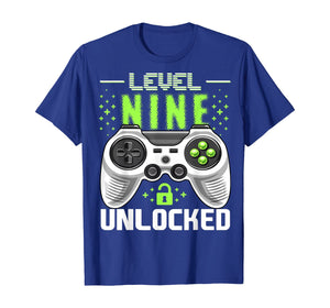 Level 9 Unlocked Video Game 9th Birthday Gamer Gift Boys T-Shirt