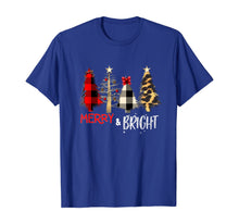 Load image into Gallery viewer, Merry and Bright Christmas Wild Leopard Plaid Trees Xmas T-Shirt