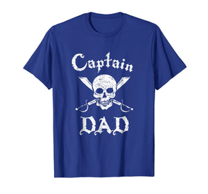 Mens Captain Dad Funny Pirate T-Shirt