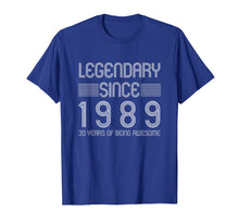 Load image into Gallery viewer, 30th Birthday T Shirt - 30 Years Of Being Awesome Since 1989