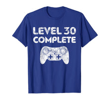 Load image into Gallery viewer, Level 30 Complete T-Shirt Video Gamer 30th Birthday Gift