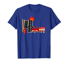 Load image into Gallery viewer, Boy's 4 Year Old Fire Truck Birthday Tee