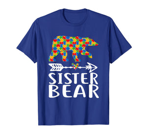 Autism Awareness Sister Bear Arrow Heart Family Tshirt