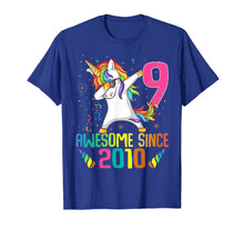 Load image into Gallery viewer, 9 Years Old 9th Birthday Unicorn Dabbing Shirt Girl Party