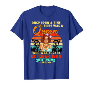 A Queen Was Born In October Girl 1980 Happy Birthday T-Shirt