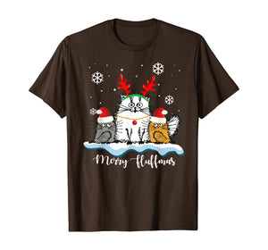 Merry Fluffmas Cats With Santa Hat Reindeer Horn Christmas T-Shirt