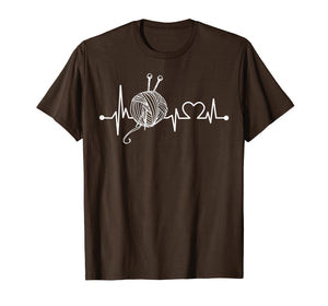 Knit & Crochet Heartbeat T-Shirt Funny Knitting Gift