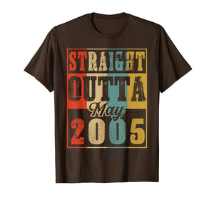 Retro Straight Outta May 2005 14th Birthday Gift T Shirt