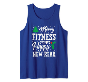 Merry Fitness And A Happy New Rear Workout Christmas Gift Tank Top
