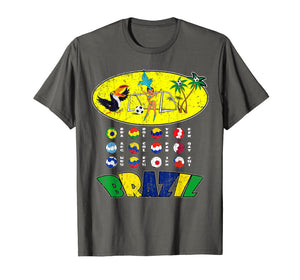 All 12 National Soccer Teams to Brazil with Samba T-Shirt