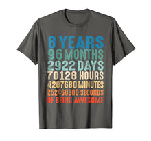 Load image into Gallery viewer, 8 Years Old 8th Birthday Vintage Retro T Shirt 96 Months