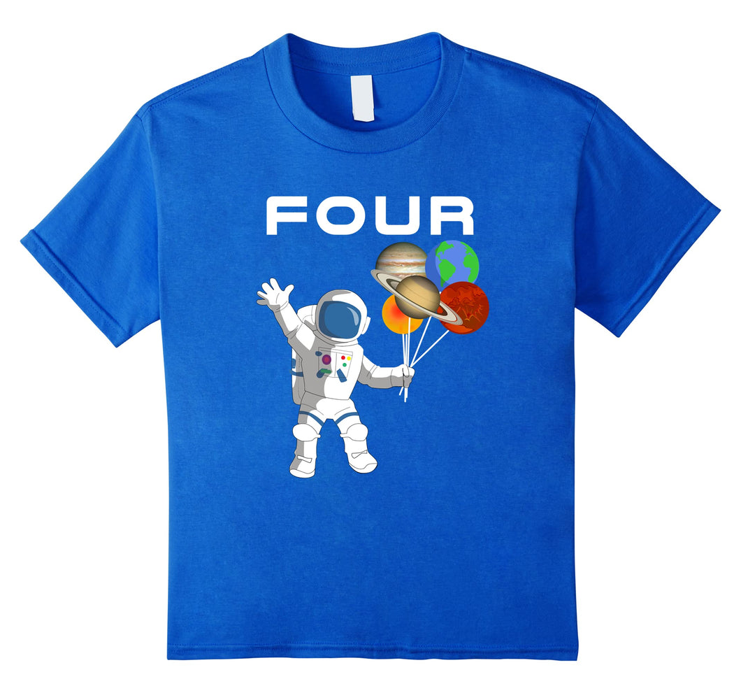 Kids 4 Year Old Outer Space Birthday Party 4th Birthday Shirt B