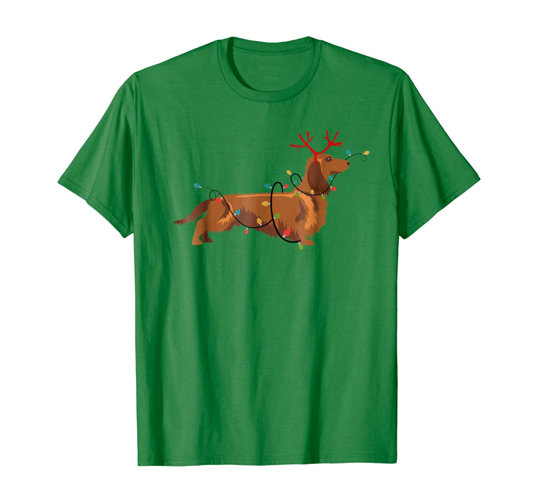 Long Haired Dachshund Reindeer Christmas Lights