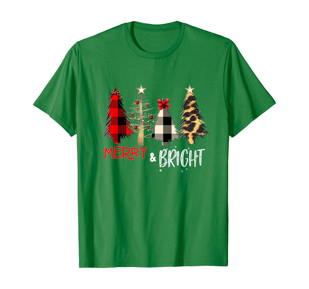 Merry and Bright Christmas Wild Leopard Plaid Trees Xmas T-Shirt