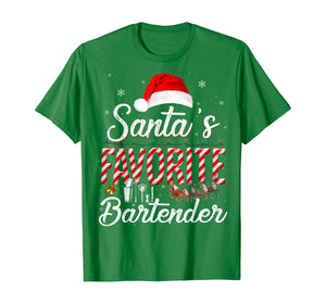 Santa's Favorite Bartender Santa Christmas Hat In Snow T-Shirt