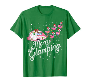 Merry Glamping Tee Funny Christmas Flamingo Camper Xmas Gift T-Shirt