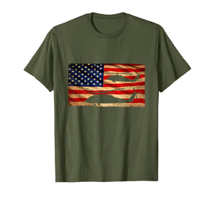 UH-60 Black Hawk Helicopter T-Shirt Gift USA Flag