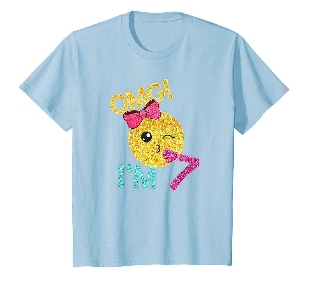 Kids 7 Yrs old Girl Kiss Emoticon SHIRT Kiss Face 7th Birthday