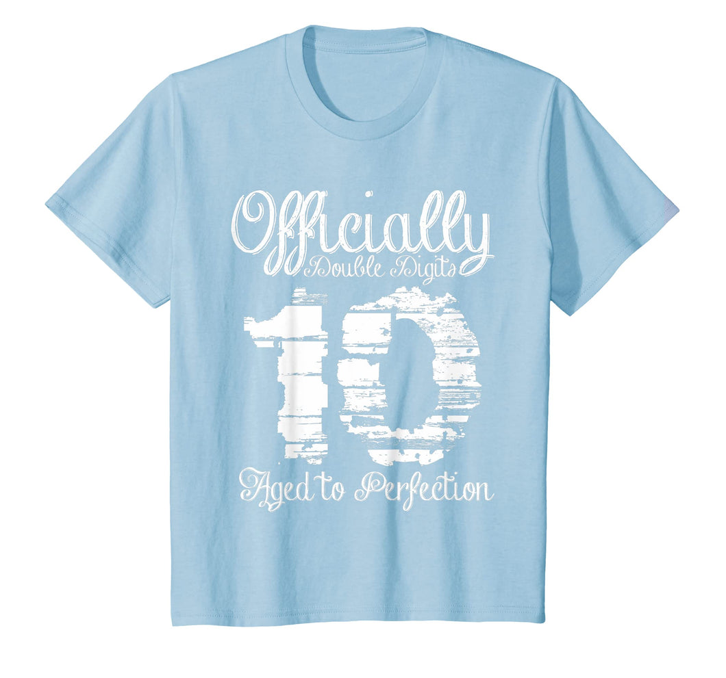 Kids Officially Double Digits 10 Year Old Girl Boy 10th Gift Tee