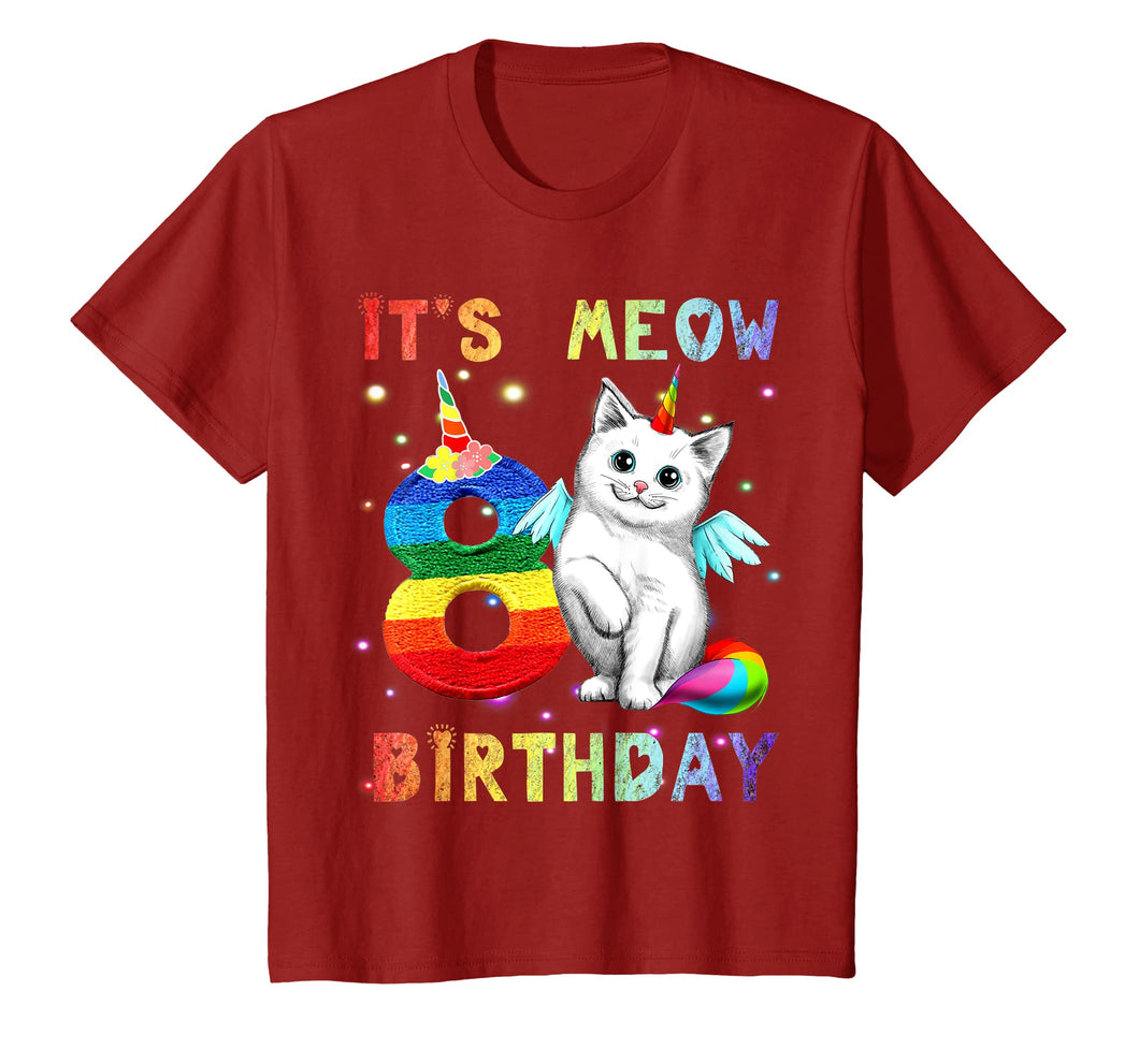 Kids Cute Kitten Kitty Cat 8th Birthday Girl Shirt Kid gift
