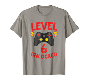 Level 6 Unlocked - Funny 6 Year Old Gamer Birthday Shirt