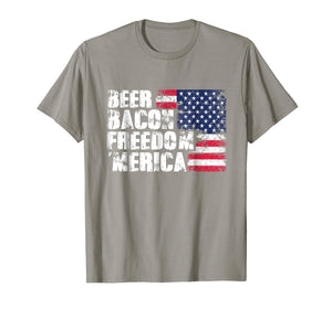 Beer Bacon Freedom Merica - American Flag 4th of July Shirt