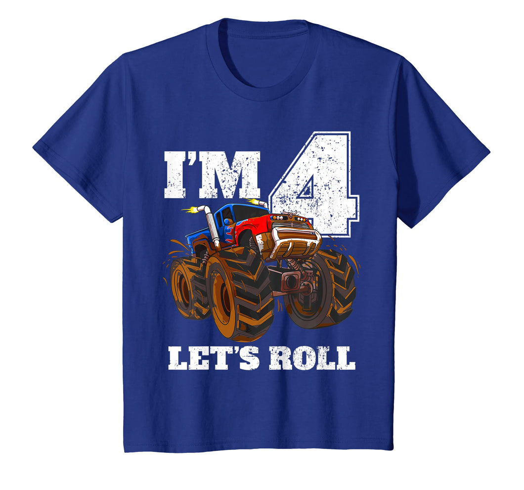 Kids Monster Truck 4th Birthday T Shirt Boy 4 Year Old Gift Tee