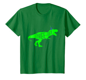 Kids 3 Year Old Birthday Boy Gift Shirt Dinosaur Three Rex Green