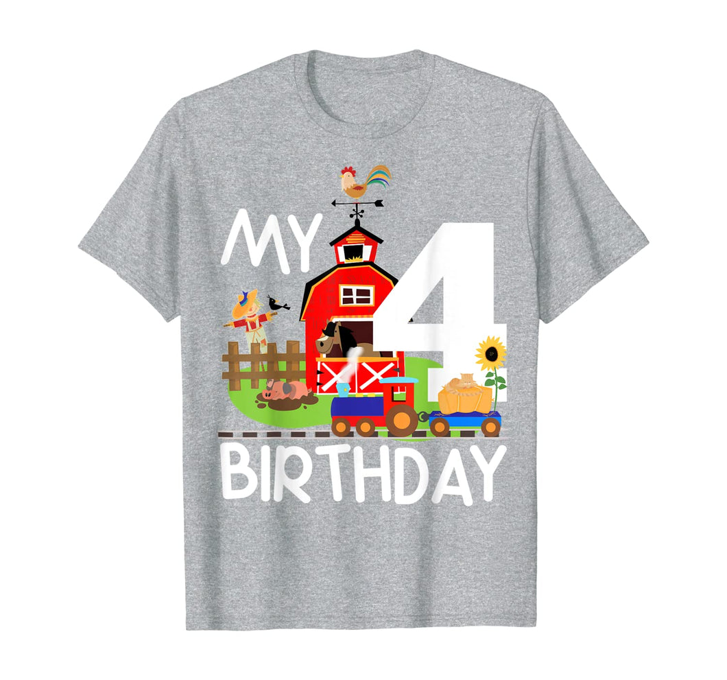 4th Birthday Farm Birthday Train Party Cow Pig Horse Chicken T-Shirt