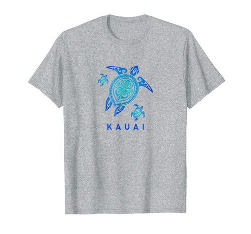 Kauai Hawaii T-Shirt Sea Blue Tribal Turtle