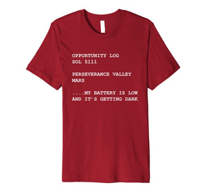 Mars Opportunity Rover Log Space Exploration T-Shirt