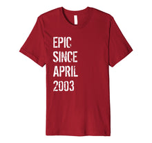 Load image into Gallery viewer, 16 Year Old Gift T Shirt for Boys Girls Born April 2003
