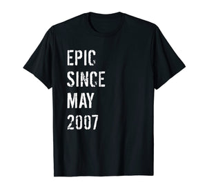 12th Birthday Gift Epic Since May 2007 T-Shirt