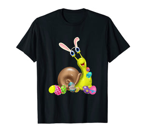 Snail And Bunny Rabbit Hat Easter Eggs Happy Day T Shirt