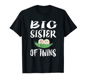 Big Sister Of Twins T-Shirt Older Sister Gift Announcement