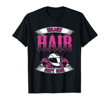 Load image into Gallery viewer, Biker Chick Shirt Motorcycle Helmet Hair Dont Care Pink
