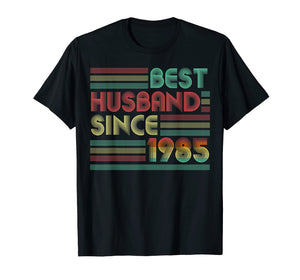 34th Wedding Anniversary Gifts Best Husband Since 1985 Shirt