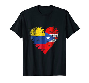 Colombia Puerto Rico T-Shirt Flag Heart Colombian Rican