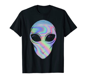 Alien Head Holographic Glow Effect T Shirt