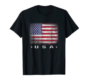 USA Flag T-shirt 4th July Fourth Red White Blue Star Stripes