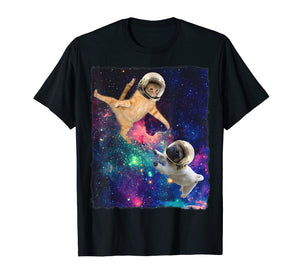 Cute Space Cat vs Pug Shirt Galaxy Epic Fight In Outer Space
