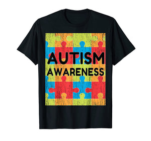 Mens Autism Awareness Distressed T-Shirt Autism Day gift