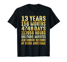 Load image into Gallery viewer, 13 Years Old 13th Birthday Gold Vintage T Shirt 156 Months